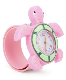 Analog Wrist Watch Tortoise Shape Dial - Pink