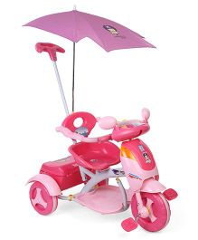 Musical Tricycle With Canopy And Push Handle - Dark Pink