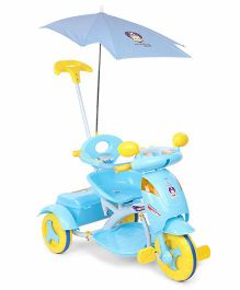 Musical Tricycle With Canopy And Push Handle - Sky Blue