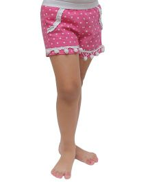 D'chica Polka Dot Print Shorts With Pom Pom - Pink