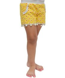 D'chica Flower Print Shorts With Pom Pom - Yellow
