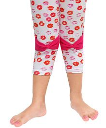 D'chica Kiss Print Leggings With Bow Design - Pink & Red