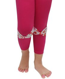 D'chica Stylish Leggings With Kiss Print Bow - Fuchsia