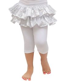 D'chica Party In Them Sequined Skirt Style Leggings - White