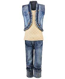 Aarika Cutwork Design Top With Denim Jeans & Jacket Set - Cream