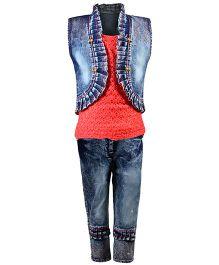 Aarika Cutwork Design Top With Denim Jeans & Jacket Set - Peach