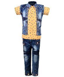 Aarika Alphabet Print Top With Denim Jeans & Jacket Set - Cream