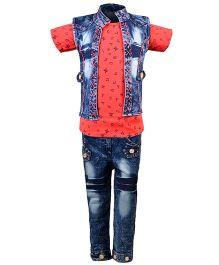 Aarika Alphabet Print Top With Denim Jeans & Jacket Set - Dark Peach