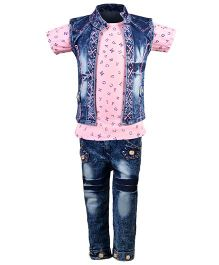 Aarika Alphabet Print Top With Denim Jeans & Jacket Set - Pink