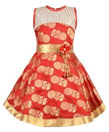 Aarika Sequined Ethnic Dress With Flower Applique - Maroon