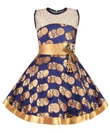 Aarika Sequined Ethnic Dress With Flower Applique - Navy Blue