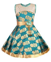 Aarika Sequined Ethnic Dress With Flower Applique - Turquoise Blue
