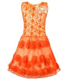 Aarika Thread Embroidered Top & Skirt With Flower Applique - Orange
