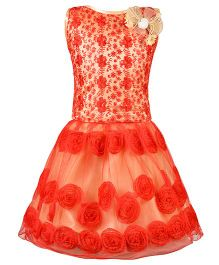 Aarika Thread Embroidered Top & Skirt With Flower Applique - Red