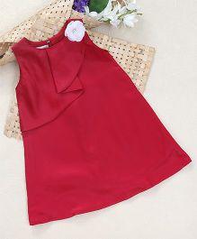 Shu Sam Smith Lisa Flower Applique Dress - Maroon