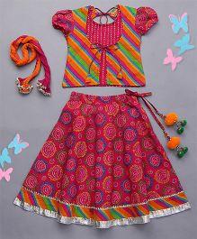 Exclusive from Jaipur Short Sleeves Choli Ghagra & Dupatta - Pink