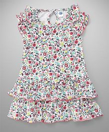 Teddy Floral Print Frock - White