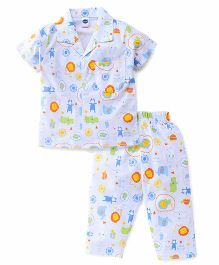 Teddy Half Sleeves Night Suit Allover Print - Blue White