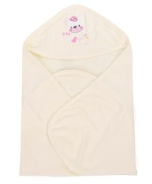 Simply Hooded Wrapper With Bear Design - Cream