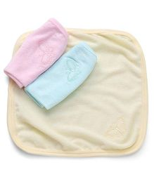 Simply Hand And Face Napkins Butterfly Embroidery Pack of 3 - Yellow Pink Blue