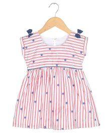 Tia'S Closet Stripes And Whimsical Stars Sailor Hues Dress - White & Red