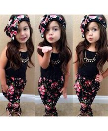 Cherubbabby Tank Top & Floral Pants With A Headband - Black