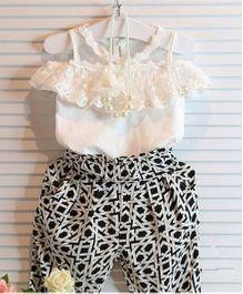 Cherubbabby Cold Shoulder Top & Harem Pants - White & Black