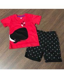 Cherubbabby Whale Print Tee & Shorts - Red & Black