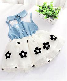 Cherubbabby Semi Denim Tutu Dress - White & Blue
