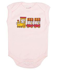 Lula Sleeveless Onesie Train Print - Pink