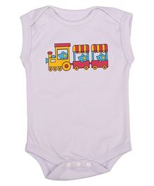 Lula Sleeveless Onesie Train Print - Lilac