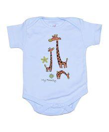 Lula Half Sleeves Onesie Giraffe Print - Sky Blu
