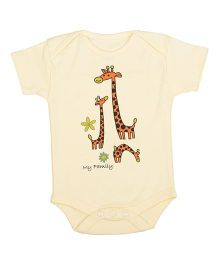 Lula Half Sleeves Onesie Giraffe Print - Yellow