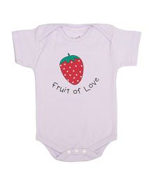 Lula Half Sleeves Onesie Strawberry Print - Lilac