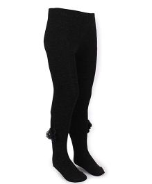 Mustang Footed Tights Stockings With With Floral Applique - Black