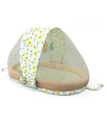 Fancy Fluff Multipurpose Mattress Set With Mosquito Net Chicken Print - Cream Light Green