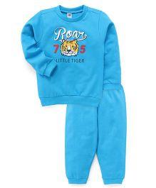 Zero Full Sleeves T-Shirt And Bottoms Set Roar Print - Blue