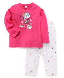Zero Full Sleeves Top And Dotted Leggings - Dark Pink White
