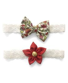 Knotty Ribbons Flower & Bow Headband Set Of 2 - Red