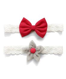 Knotty Ribbons Flower & Bow Headband Set Of 2 - Silver