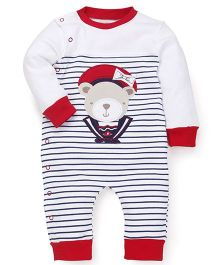 Wonderchild Cotton Full Sleeves Snap-up Romper - White & Red