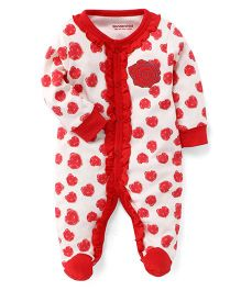 Wonderchild Flower Print Full Romper - Red
