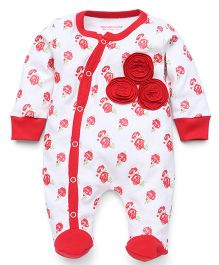 Wonderchild Full Sleeves Footed Romper - Off White Red