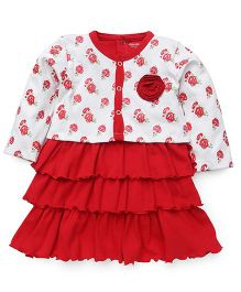 Wonderchild Short Sleeves Dress With Full sleeves Jacket - White Red