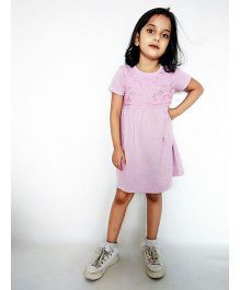 Kiddopanti Short Sleeves Dress Floral Embroidery - Pink