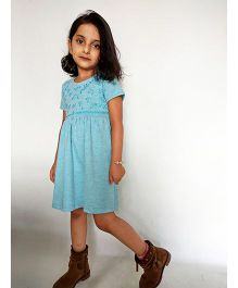 Kiddopanti Short Sleeves Dress Floral Embroidery - Sea Green