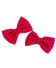 Pigtails and Ponys Polka Print Bow Clips - Red