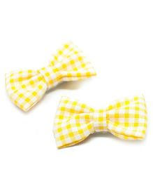 Pigtails and Ponys Gingham Print Bow Clips Set Of 2 - Yellow