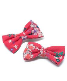 Pigtails and Ponys Wildflower Print Bow Clips Set Of 2 - Red