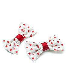 Pigtails and Ponys Polka Print Bow Clips - Red And White